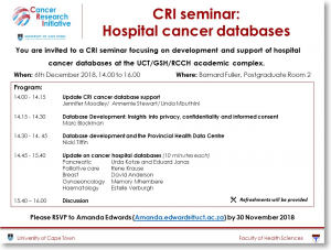 CRI Seminar - Hospital Cancer Databases
