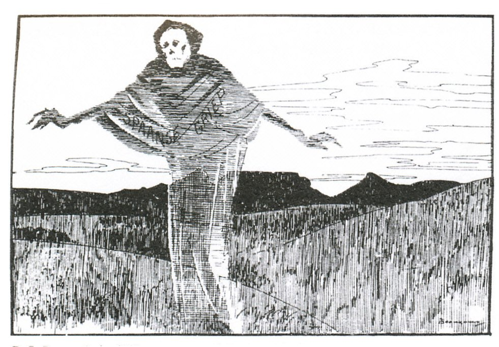 "This cartoon appeared in the newspaper Die Burger on 16 October 1918, and depicts the ""Spanish 'flu"" as the grim reaper, Table Mountain in the background."