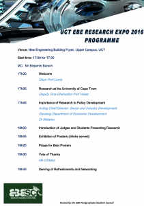 2016 EBE Research Expo - Programme