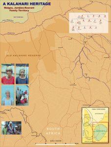 A map showing a Kalahari Heritage: Malgas, Jantjies-Koerant Family Territory.