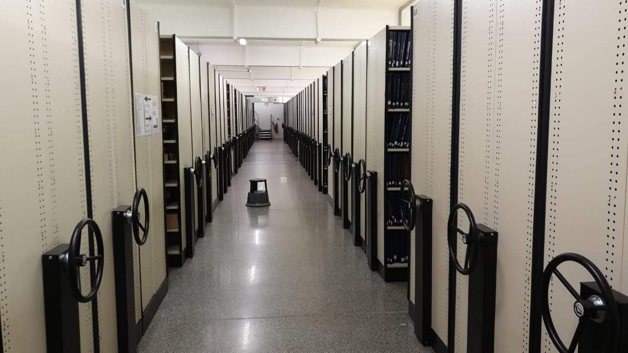 The unaffected Meulenhof Store, with some of the hardcopy theses visible in the compactus.
