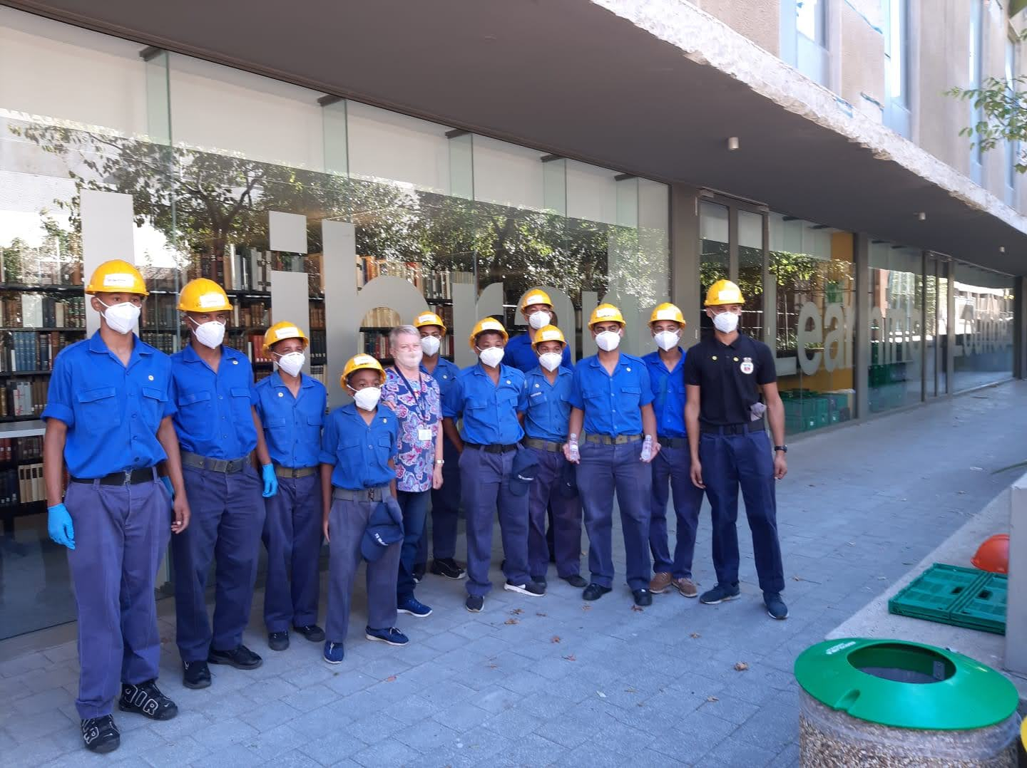 Bev Angus with the Sea Cadets outside the Library Learning Lounge.