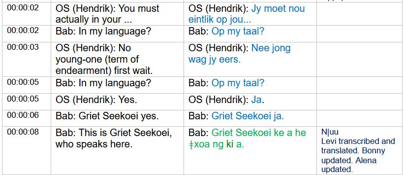 An extract from a transcript showing Griet Seekoei speaking Afrikaans and Nǀuu.